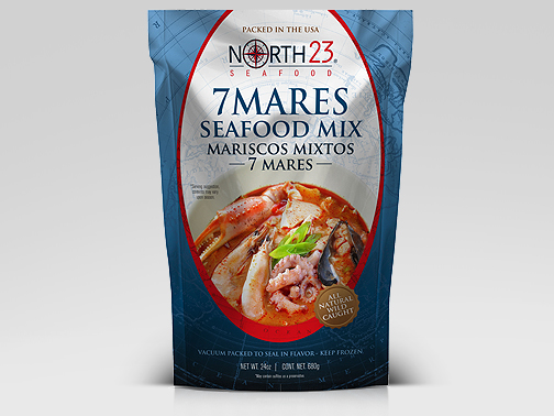 Packaging graphic design for Nosrth23 Seafood Mix 7 Mares