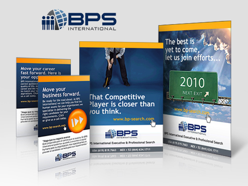 Logo & promotional ads for BPS International Recruiting Company
