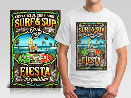 Illustration for Costa Azul Surfshop Surf & Sup Fiesta